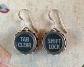 """Vintage Typewriter Key Earrings--- """"Tab Clear"""" and """"Shift Lock""""---Slate Bue Typewriter Keys"""