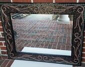 Reserved for Lea -- Custom Black and Green Mosaic Mirror with Copper Design
