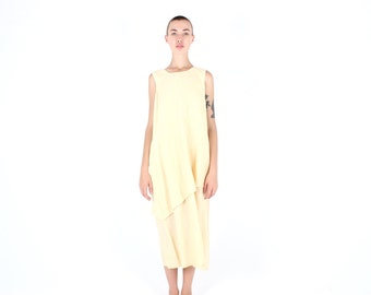 90s Minimal LINEN Cotton Pastel Lemon Yellow Simple Loose / Relaxed / Floaty Sleeveless Maxi Summer Dress