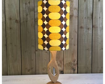 Hand Made Retro 60s 70s Style Wooden Lamp Base & Vintage  Fabric Light Shade