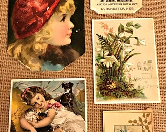 Lot/Collection of Victorian ephemera scraps, advertising cards etc.