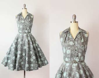 vintage 50s sun dress / 1950s rhinestone cotton pique dress / aqua and grey floral dress / halter neck open back dress