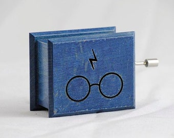 Harry Potter music box glasses and scars lightning blue - soundtrack and design inspired handmade wooden music box