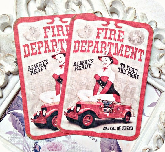 Vintage Fire Department Tags (6) Fireman Pin Up Girl-Fireman Note Card-Fireman Gift Tags-Firefighter Tags-Fireman Party-Firetruck Tags