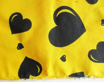 German Vintage Yellow Cotton Fabric with Printed Black Hearts Restpiece for sewing / Sewing supply yardage from the 80s