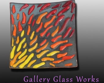 Square Flame Dish -   Fused Glass
