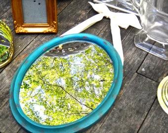 Oval Mirror, Mirror with Ribbon, Boho Chic, Cottage Chic, Mirror, Aqua, Blue, Oval Frame, Shabby, Beach, Bath, Bathroom, Powder Room, Casa