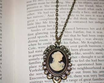 Jane Austen/ Georgian Regency Style Cameo Necklace: Black and Ivory with Crystal Accents