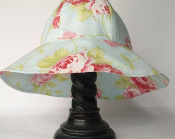Sun Hat, Girl's Sun Hat,  Cottage Chic Blue Rose Cotton Fabric  Sunhat