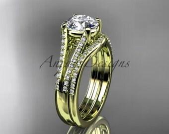 14kt yellow gold diamond unique engagement set, wedding ring ADER108S
