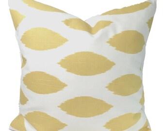 YELLOW PILLOW Sale.14x14 inch.Pillow Cover.Decorative.Home Decor..Gold Ikat.Pale Yellow.Cushion Cover.Saffron Pillow.Cm.Yellow Ikat