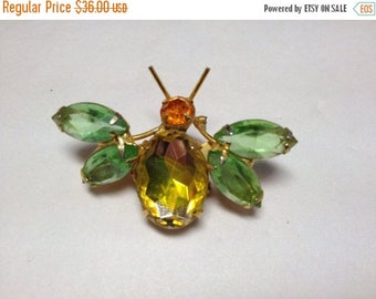 Vintage Bug Pin/Brooch Yellow, Orange and Green  1970s   Item: 16787   UNSIGNED