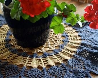 ON SALE Vintage slate blue and dark ecru crochet doily / large round centre-piece / circular pattern / pretty hand-crocheted vintage doilies