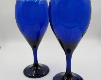 Vintage Libbey Cobalt Blue Wine or Water Goblets, Set of Two (2) Libbey Cobalt Wine Glasses, Vintage Wine or Water Glasses, Something Blue,