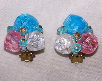 West Germany Lucite Ice Cube Clip Earrings Pink Blue White