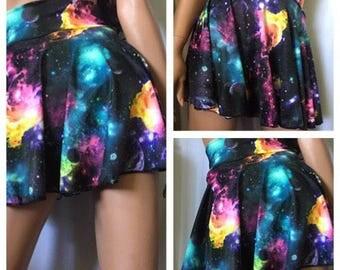 GALACTICA- galactic print swim skirt, skirted bikini bottom, plus size skirt bikini bottom, high waisted skirt bikini, attached bikini botto