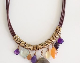 Semi Precious Stone Leather Necklace, Leather Beaded Necklace, Multi Colored Necklace, Brown Leather Necklace, Precious Stone Necklace