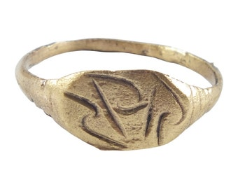 Ancient Viking Runic Ring C.850-1050 A.D. Size 9 1/4 (19.6mm)  [pwr1184]