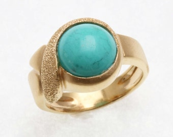 Estate 14k yellow gold turquoise ring matte swirl solid Vintage