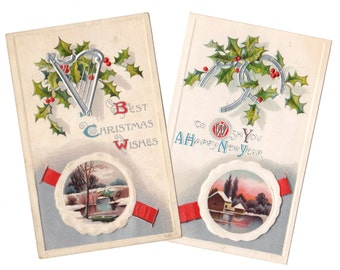 Set Of Two ANTIQUE Department Store Christmas And New Year Postcards 1909 Silver Harp And Horse Shoes Possibly Winsch