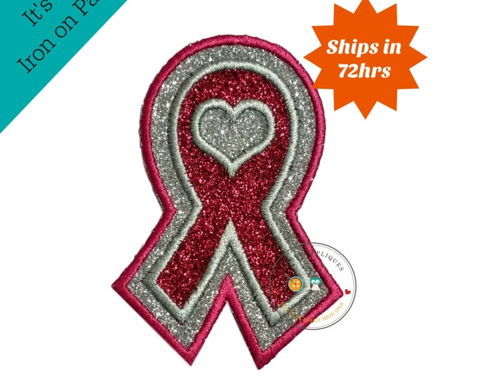 Glitter awareness ribbon- Iron on embroidered fabric applique patch embellishment- ready to ship