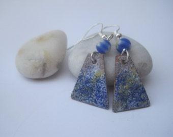 Enameled Copper Earrings Sea Tones, Copper earrings, Drop Earrings