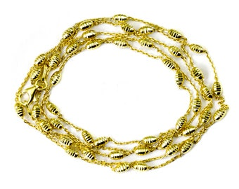 14k Gold over Sterling Silver Chain Necklace Little Barrel Bead Accents 36 Inch Length Dainty everyday wear long or double up