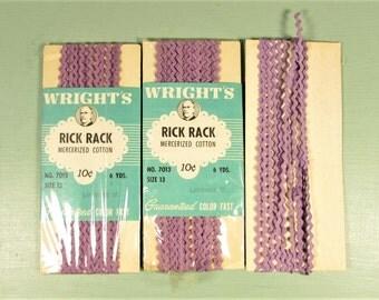 Purple Rick Rack Trim - Vintage 15 Yards Baby Tiny 1/8 Inch Apparel Craft