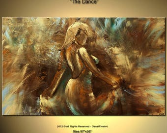 Dancing Woman Painting - Stretched Canvas, Embellished & Ready-to-Hang  - The Dance - Art by Osnat