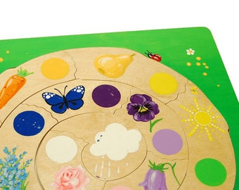 Wooden puzzle for children - Waldorf inspired wooden color game