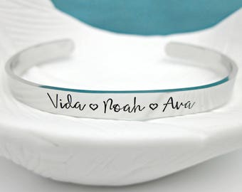 Mothers Bracelet - Personalized Skinny Cuff - Kids Names - Grandma Bracelet - New Mom Gift - Custom Jewelry - Mothers Jewelry - Gift for Mom