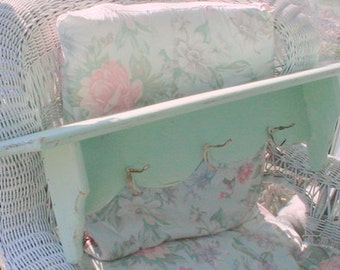 Shelf Coatrack Painted Wood Mint Green Vintage Shabby Chic Farmhouse Beach Cottage