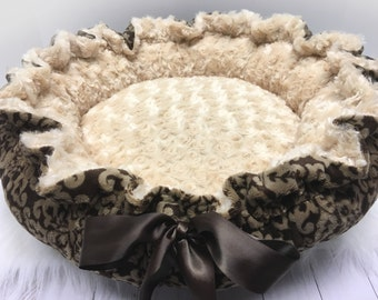 Brown Damask Dog Bed, Brown Damask Puppy Bed, Damask Cat Bed, Damask Kitty Bed, Personalized Damask Dog bed