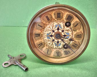 Antique French Clock Movement By Japy Freres Porcelain Face With Key 1840s to 1880s Needs A Little Help