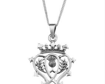 Sterling Silver Scottish Luckenbooth Necklace 20.5mm x 30.0mm inspired by Mary Queen of Scots