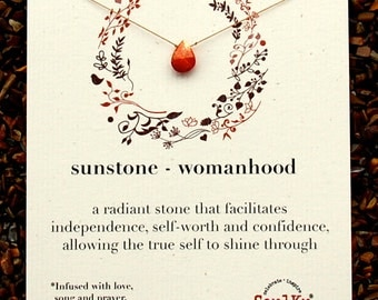 Gemstone Necklace in Sunstone for Womanhood or First Menses or First Period simple dainty