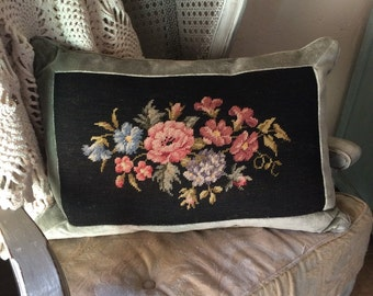 Large Vintage Needlepoint Pillow