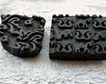 Vintage print block, wood textile stamp, fabric print block, hand carved, primitive wood stamp, wood block stamp, textile print block, decor