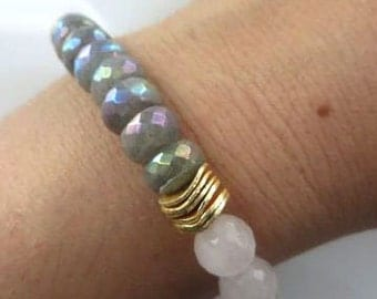Beautiful Faceted Labradorite and Moonstone Stretch Bracelet, Boho Bracelet, Stacking Bracelet
