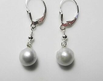 Pearl Dangle Earrings, Long White Pearl Earrings, Sterling Silver, Lever Back Ear Wires, Delicate Pearl,  June Birthstone, Pearls of Wisdom