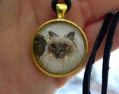 Cat Portrait Made-to-Order from your Photos// Pet Memorial // Pet Loss Comfort Gift // Miniature Painting // Pet Jewelry // Gold Toned