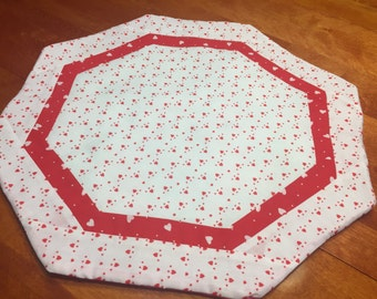 Handmade Round Reversible Valentines and Easter table runner by MarlenesAttic
