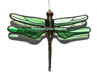 Stained Glass Dragonfly Suncatcher, Emerald Green & White on Clear - USA HandMade, Green White Dragonfly, Green Firefly, Dragonfly Ornament