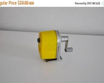 ON SALE Vintage Pencil Sharpener Yellow Mid Century 50's Midget APSCO Desk Wall Mount