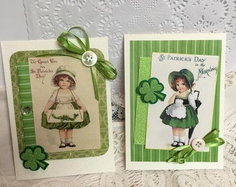 Pair of  St Patrick's Day Greetings ~~~~ Shamrocks and Green Celebration~~~~~~