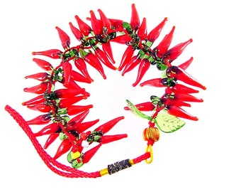 50 glass red hot chili peppers handmade  bead strand 2046P