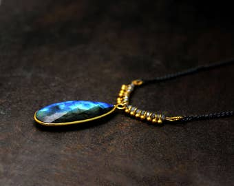 Long Labradorite Teardrop Necklace. Mixed Metals. Fringe Necklace. Black and Gold Necklace. N2354-BG