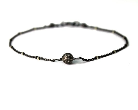Pave Diamond Bracelet. Black Diamond  Bracelet. Stacking Bracelet. Delicate chain bracelet in black and Silver. B-2201