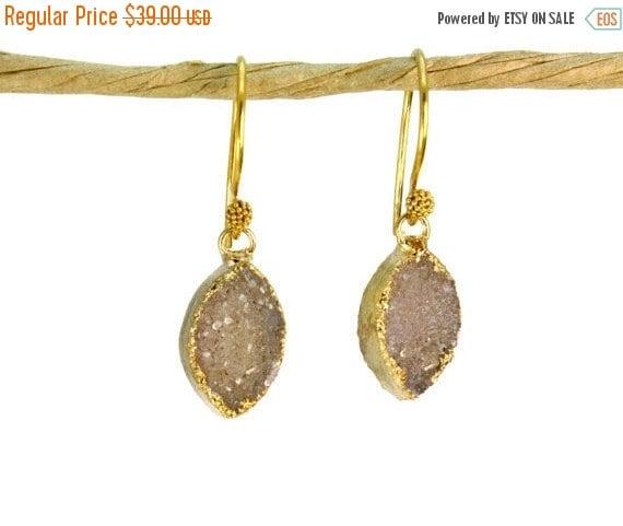 20% off. Simple Druzy Earrings. Marquise Druzy. 22k Gold Vermeil Leaf Shaped Earrings E-1108