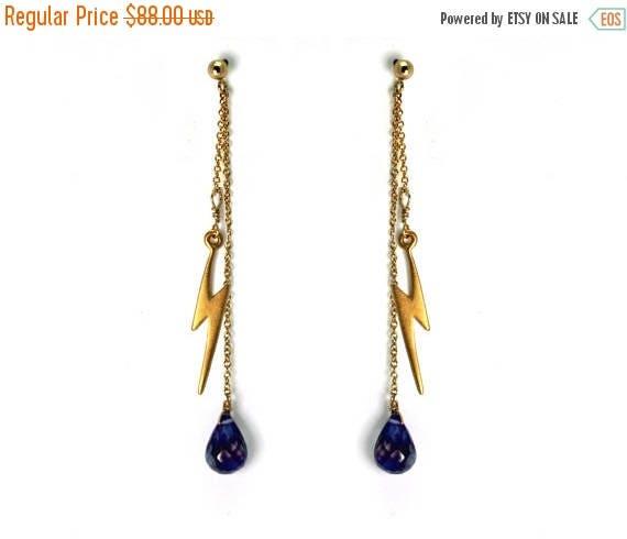 20% off. Lightning Bolt Drop Earrings. Post Earrings with Iolite Gemstone Dangles Gold Filled or Sterling Silver Dangle Earrings E-2014